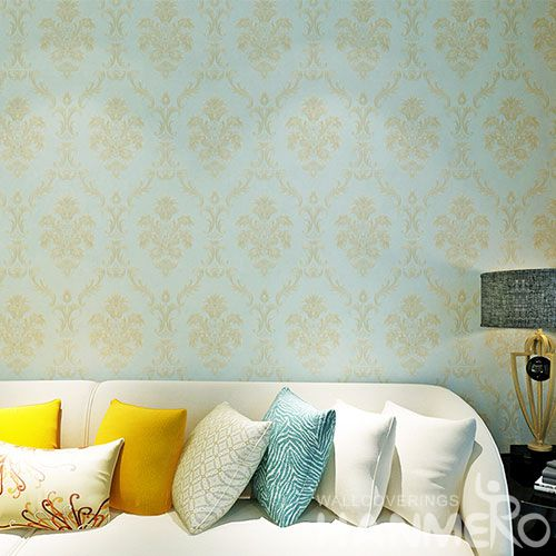 HANMERO Classic Light Blue Czoy Color PVC 0.53 * 10M Wallcovering for Bedroom Chinese Wallpaper Supplier European Style