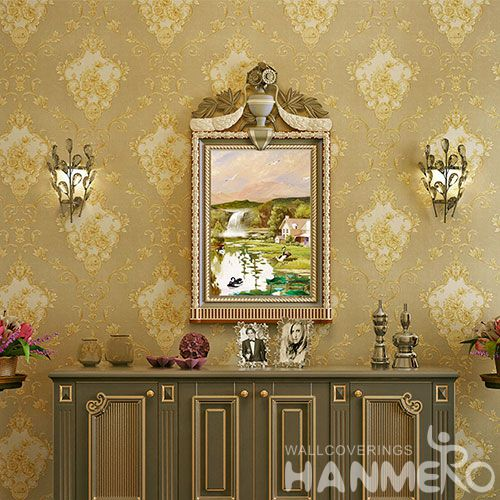 HANMERO Removable PVC Wallpaper 0.53 * 10M Floral Chinese Wallcovering Vendor European Style for Room TV Sofa Background