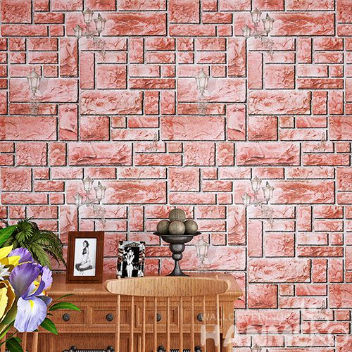HANMERO PVC 0.53 * 10M Vinyl Wallpaper 3D Stone Design Chinese Wallcovering Supplier for Room TV Sofa Background