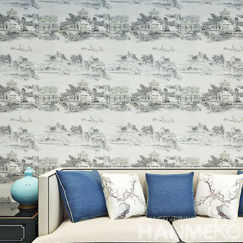 HANMERO Living Room Wall Decoration Natural Landscape Wallpaper PVC 0.53 * 10M China Wallcovering Wholesaler Prices