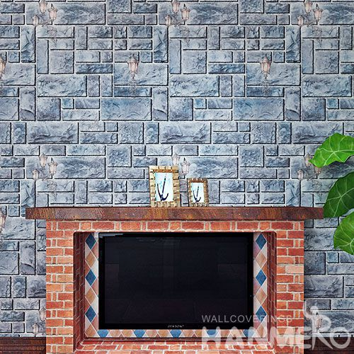 HANMERO Household 3D Stone Design Wall Wallpaper PVC 0.53 * 10M Wallcovering from Chinese Factory in Modern Style