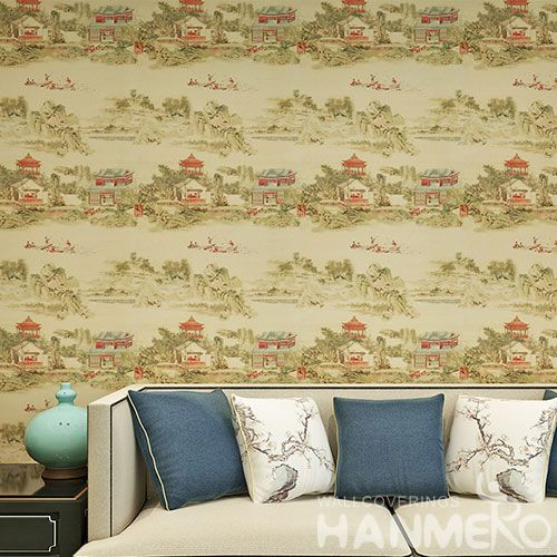 HANMERO Chinese Style Landscape PVC 0.53 * 10M Wallpaper Wallcovering Wholesale Prices for Living Room Decorative