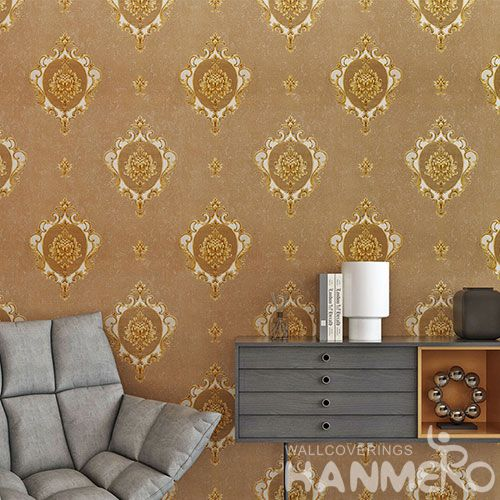 HANMERO Brown Color Chinese Factory Wallcovering Supplier PVC 0.53 * 10m Wallpaper for Home Decoration