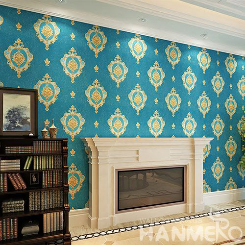 HANMERO PVC Sofa TV Background Decor Wallpaper European Cozy Style 0.53 * 10M Blue Color Wallcovering from China