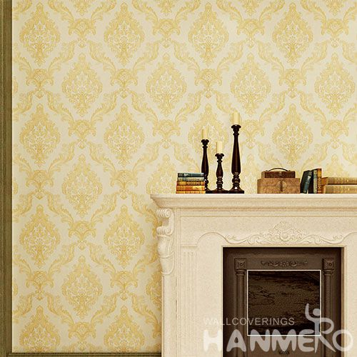 HANMERO Beautiful Beige Color Fashion Design Floral Wallcovering PVC 0.53 * 10M / Roll Room Decorative Wallpaper