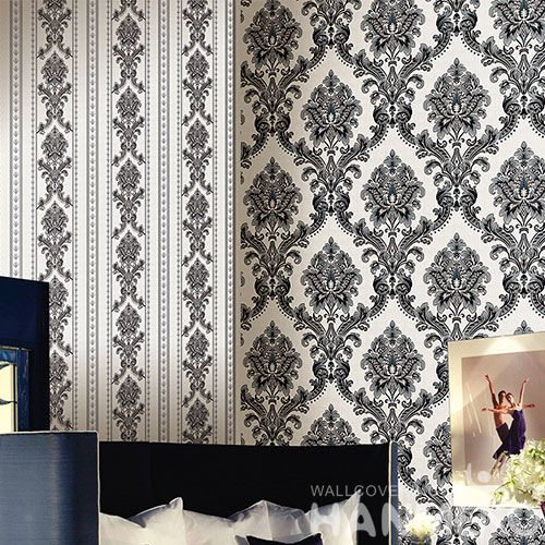 HANMERO European Style PVC 0.53 * 10M / Roll Wallpaper Classice Damask Pattern Chinese Wallcovering Supplier