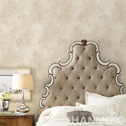 HANMERO European Non-woven Embroidery 0.53*10M Light Brown Flower Wallpaper Supplier From China