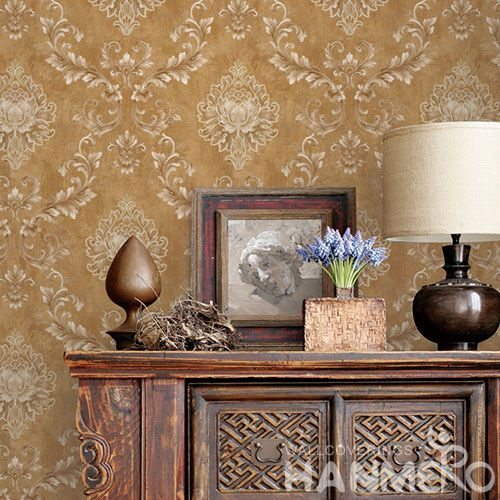 HANMERO European Non-woven Embroidery 0.53*10M Brown Flower Wallpaper Supplier From China
