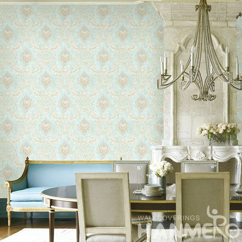 HANMERO European Non-woven Embroidery 0.53*10M Light Blue Flower Wallpaper Supplier From China