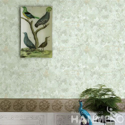 HANMERO Modern Non-woven Embroidery 0.53*10M Green Wallpaper Supplier From China