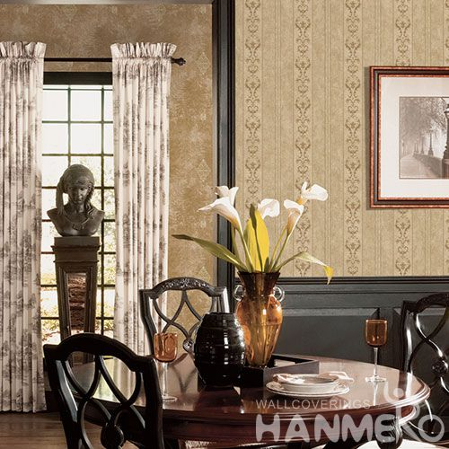 HANMERO European Non-woven Embroidery 0.53*10M Brown Stripes Wallpaper Supplier From China