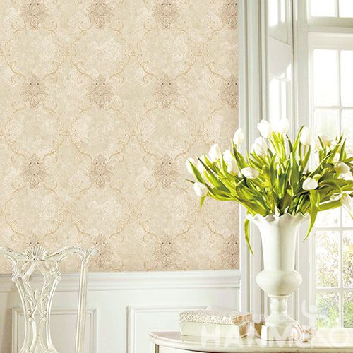 HANMERO European Non-woven Embroidery 0.53*10M Light Brown Damask Wallpaper Supplier From China