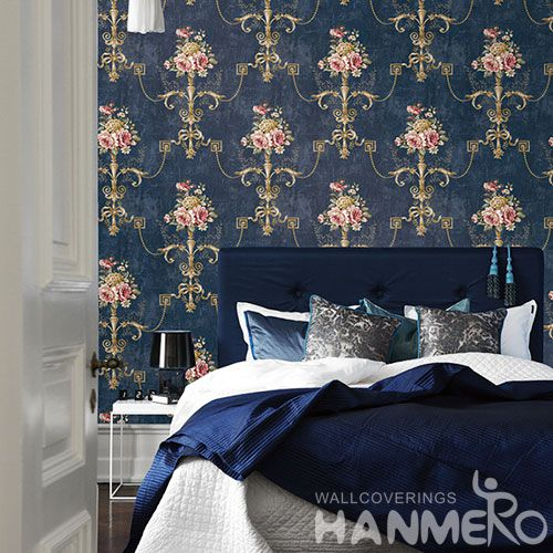 HANMERO Pastoral Non-woven Embroidery 0.53*10M Dark Blue Flower Wallpaper Supplier From China