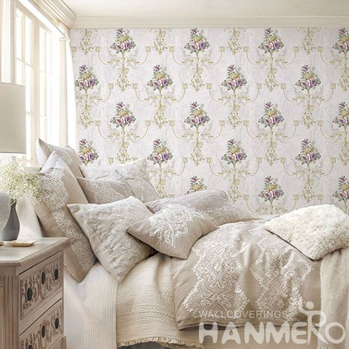 HANMERO Pastoral Non-woven Embroidery 0.53*10M White Flower Wallpaper Supplier From China