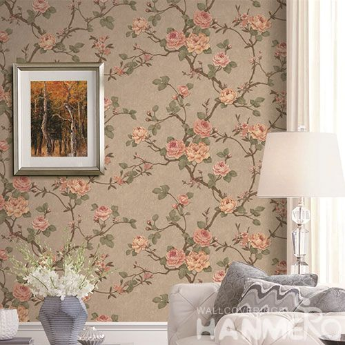 HANMERO 1.06M PVC Material Wallpaper with Beautiful Flowers Designs for Wallcovering Distributors from China