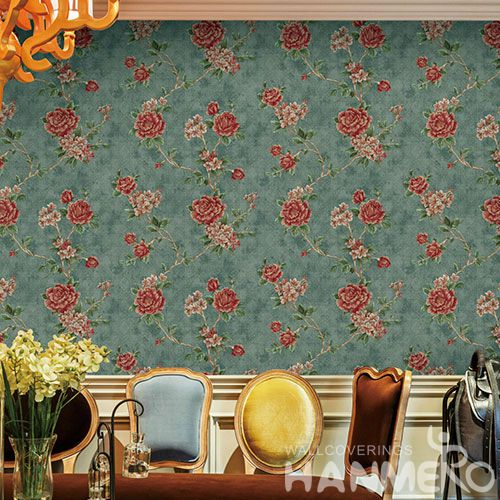 HANMERO Living Room Bedroom Strippable Modern European Pink Flowers Wallpaper 0.53 * 10M Non-woven Wallcovering Wholesaler Exporter from China
