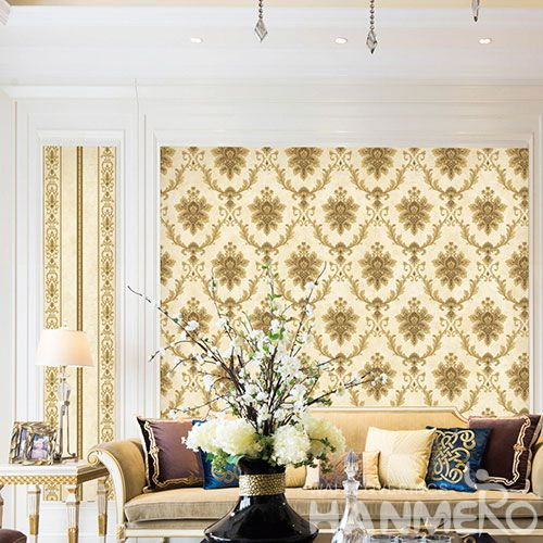 HANMERO Damask Yellow Color Home Interior Non-woven 0.53 * 10M Wallpaper for TV Sofa Background from Professional Wallcovering Manufacturer