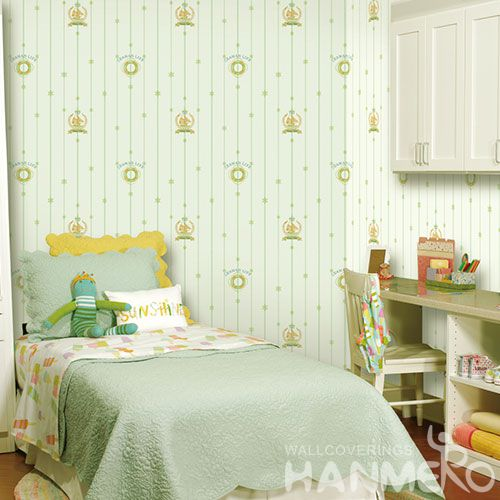HANMERO Kids Room Exported Household Light Green Color Wallpaper Non-woven 0.53 * 10M Stylish Wallcovering Distributor from China New Style