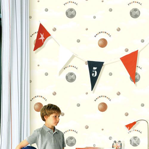 HANMERO Chinese Exported Strippable Kids Room Decoration Wallcovering Basketball Design Non-woven 0.53 * 10M Wallpaper Wholesale Prices