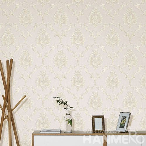 HANMERO European Popular Interior Room Decorative Non-woven 0.53 * 10M Wallpaper Floral Beige Color Wallcovering Factory New Latest