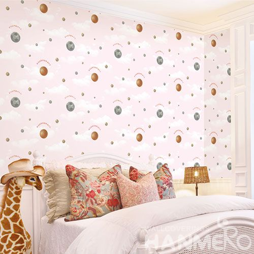 HANMERO Modern Children Room Decorative Wallcovering Chinese Factory Non-woven 0.53 * 10M Basketball Design Wallpaper High Quality