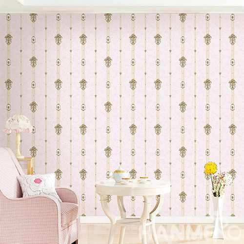 HANMERO Stripes Popular Interior Room Decorative Non-woven 1.06M Wallpaper Pink Color Wallcovering Factory New Latest