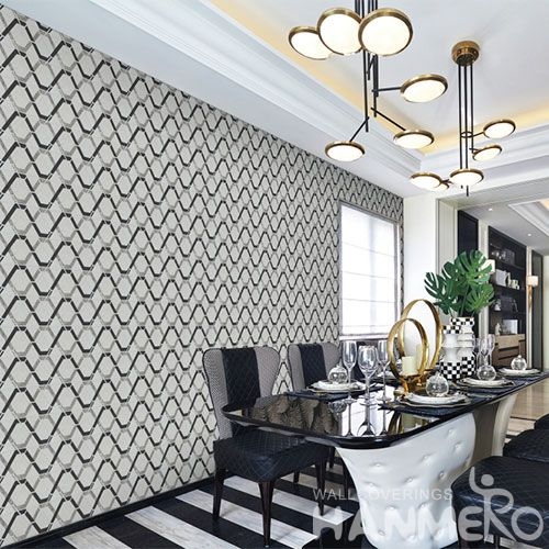 HANMERO Black White Color Home Interior Non-woven 1.06M Wallpaper for TV Sofa Background from Professional Wallcovering Manufacturer