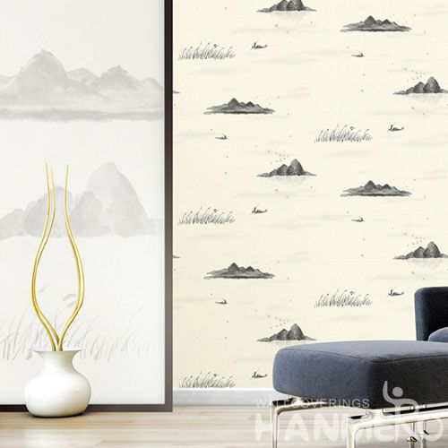 HANMERO Chinese Style Nature Beautiful Landscape Wallcovering 0.53 * 10M / Roll PVC Hallways Lobby Decor Wallpaper