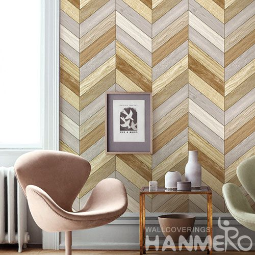 HANMERO Vinyl Affordable Sofa Background Wallpaper Wood Texture PVC 0.53 * 10M Modern Design from Chinese Factory Fancy
