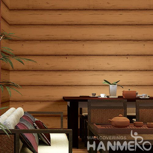 HANMERO PVC Modern Classic Wood Design Wallpaper 0.53 * 10M Nature Sense Wallcovering Factory Sell Directlly for Study Room