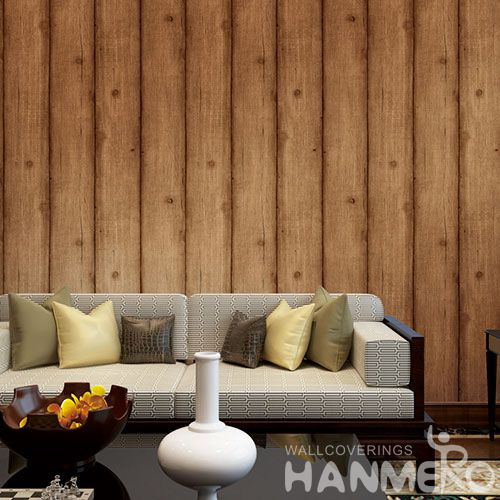 HANMERO Modern Economical 0.53 * 10M PVC Wallpaper in Wood Texture Wholesale Prices for TV Sofa Background Wall Decorative