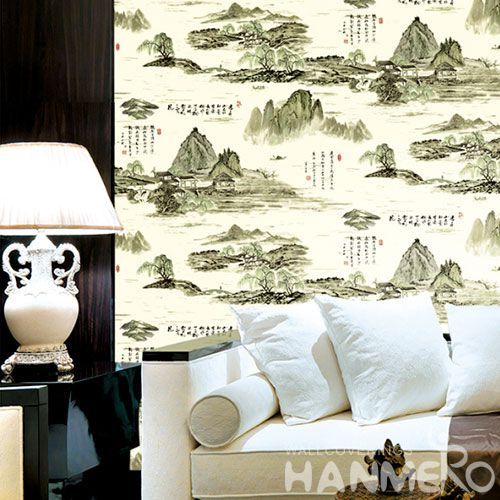 HANMERO Nature Beautiful Landscape PVC Wallpaper Chinese Words 0.53 * 10M Study Room Decor Wallcovering Best Selling