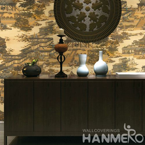 HANMERO Vinyl-coated Waterproof 0.53 * 10M Wallpaper from Professional Wallcovering Dealer Traditional Chinese Style