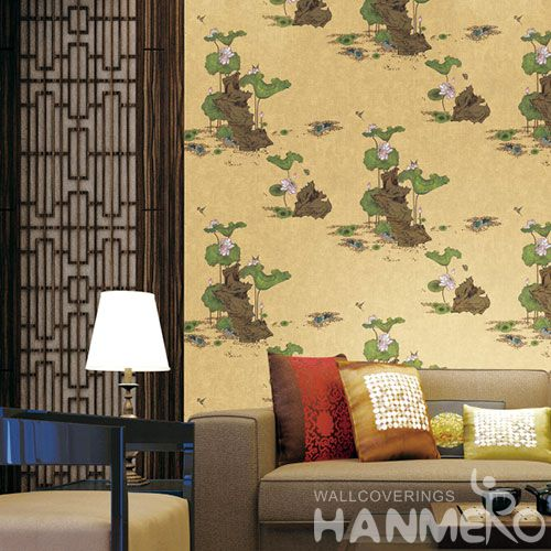 HANMERO Nature Landscape 0.53 * 10M / Roll Wallpaper PVC Kids Bed Room Wallcovering Beautiful Flowers in Classic Style on Sale