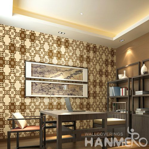 HANMERO Vinyl  Chinese Style Wallcovering 0.53 * 10M PVC Factory Sell Directlly Wallpaper for Study Room in Stock Wholesale