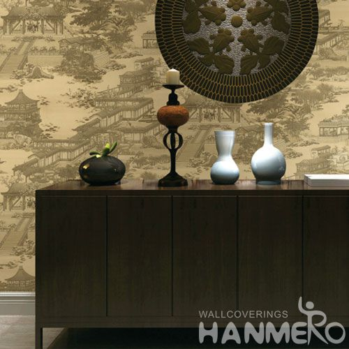 HANMERO Traditional Chinese Style PVC Wallpaper for Home Living Room Wall Decoration 0.53 * 10M at Wholesale Prices