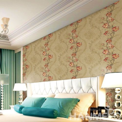 HANMERO Fancy Color Floral Pattern PVC Wallpaper 0.53 * 10M Kids Bedroom Decor Wallcovering from Chinese Factory