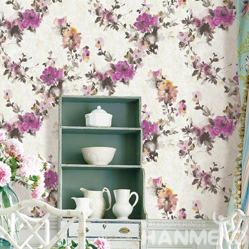 HANMERO Latest Modern Beautiful Flowers PVC 0.53 * 10M Wallpaper Chinese Wallcovering Manufacturer Wholesale Prices