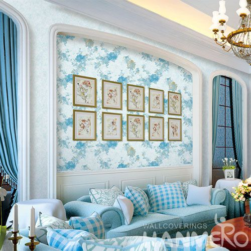 HANMERO Latest Blue Color Fancy Flowers Strippable PVC Wallpaper 0.53 * 10M Professional Chinese Wallcovering Exporter
