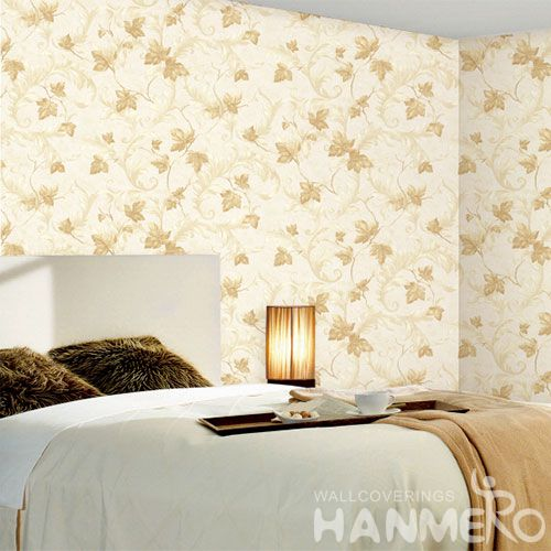 HANMERO Modern Cozy Leaves Pattern PVC Wallpaper 0.53 * 10M Household Decor Wallcovering Chinese Manufacture