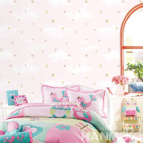 HANMERO Children Room Decorative Wallcovering Chinese Factory Hot Sex Carton Design Floral Pattern Non-woven Wallpaper Factory Wholesale Prices