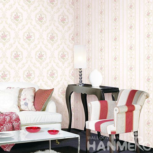 HANMERO Damask Design New Fashion Non-woven 0.53 * 10M Pink Flowers Wallpaper for Living Room Bathroom Wall Manufacturer Designer from China
