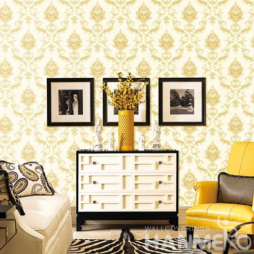 HANMERO Removable Chinese Supplier Natural Sense Non-woven Wallpaper Golden Damask for Cozy Home Decoration Modern European Style Cheap Prices