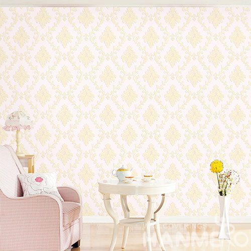 HANMERO Damask Hot Selling Yellow Flowers Pattern Wallpaper Non-woven Interior Wallcovering for Home Decoration from Chinese Supplier
