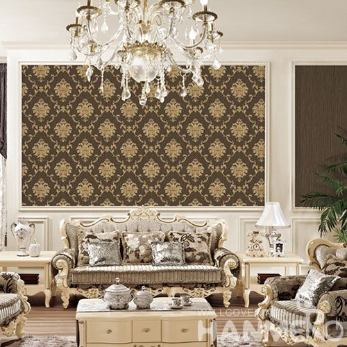 HANMERO PVC Vinyl Damask Pattern Wallpaper TV Sofa Background Classic Style Chinese Wallcovering Supplier