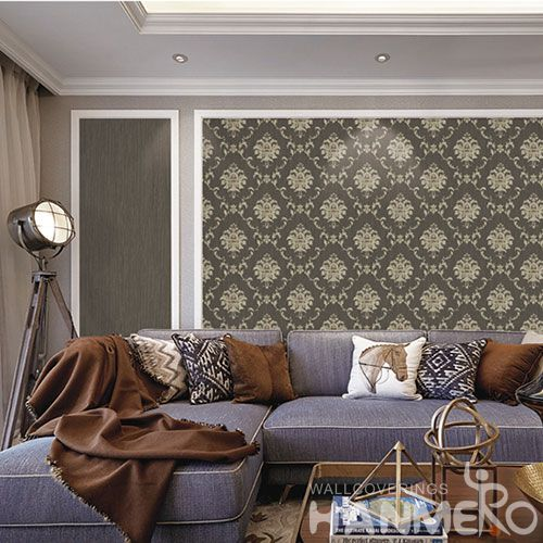 HANMERO European Damask Floral 0.53 * 10 M / Roll TV Background PVC Wallpaper China