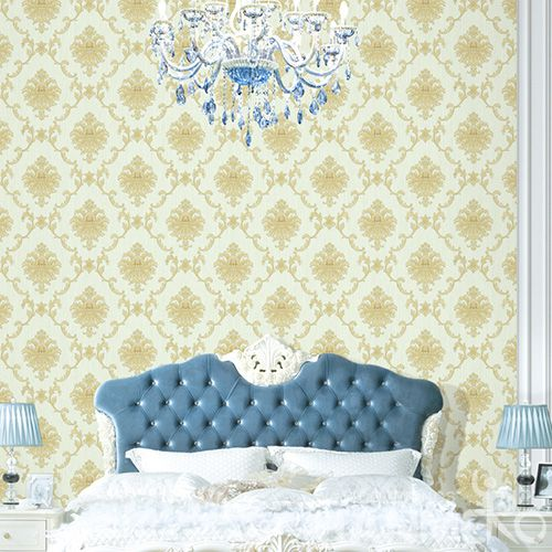 HANMERO Economical Yellow Damask PVC Wallpaper in Modern Classic Style Wholesale from Chinese Factory Favorable Prices