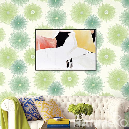 HANMERO PVC Sofa TV Background Decor Wallpaper in Modern Cozy Style 0.53 * 10 M PVC Wallcovering Green Color