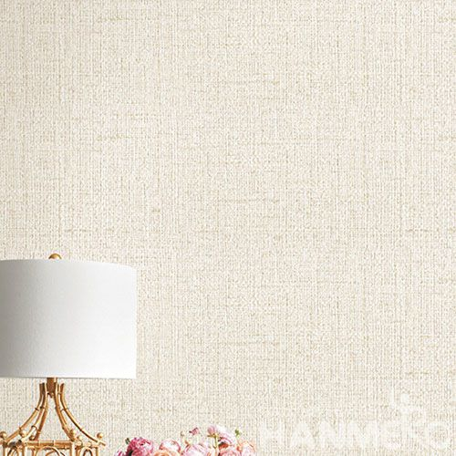 HANMERO Chinese Light Beige Wallcovering Supplier Natural Material PVC Wallpaper for Commericial Office Wall Usage