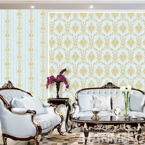 HANMERO New Arrival Eco-friendly Colorful PVC Wallpaper in Modern Damask Design for Elegant Home Study Room Decoration